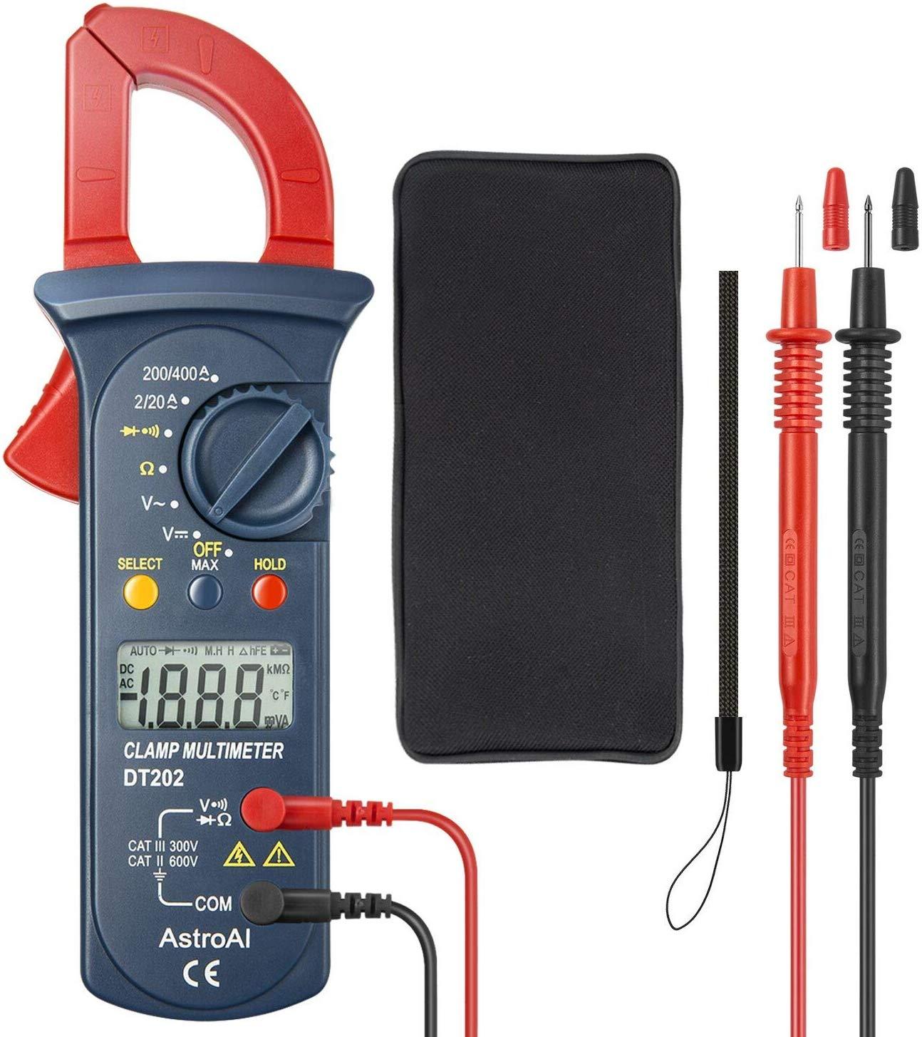 AstroAI Pince Ampèremétrique Numérique, Multimètre de Mesure Automatique et Voltmètre; Mesure Testeur de Tension, Courant
