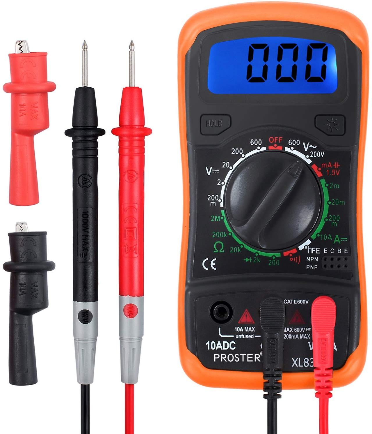 Multimètre Numérique Mini-Multimètre de Gamme Manuelle Testeur des Piles Mètre Compteur DMM pour Bricolage Test de Voltage AC DC...