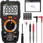 Multimètre, Testeur Electrique Manuel avec Lampe Torche TRMS 6000 Points Ampèremètre Voltmètre NCV Mesure de Température...
